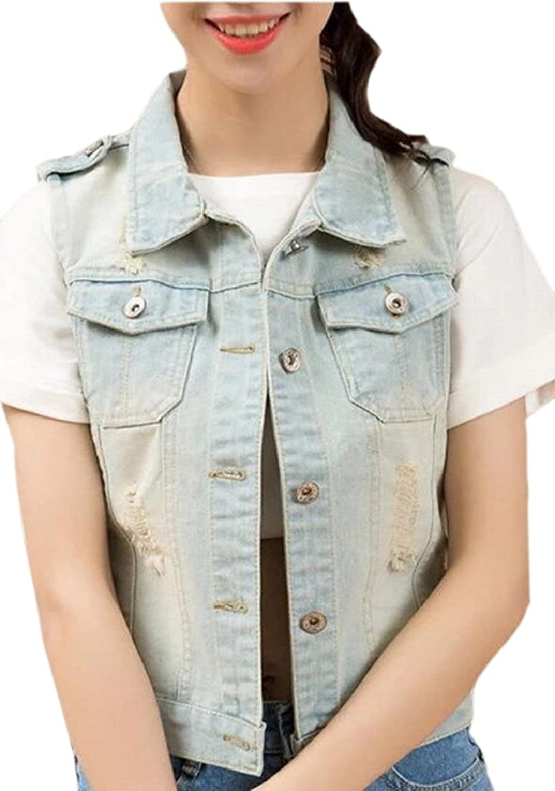 pujingge-CA Women Ripped Hole Denim Vest Washed Sleeveless Jean Jacket