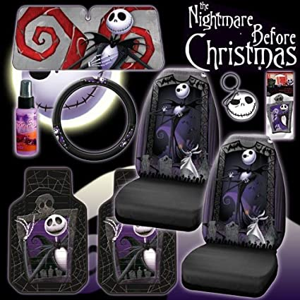 new 9 pieces disney nightmare before christmas jack skellington graveyard car auto accessories interior combo kit - Nightmare Before Christmas Steering Wheel Cover