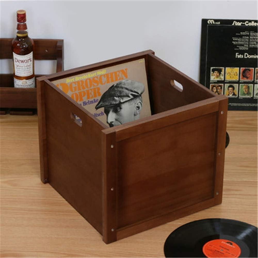 Color : Natural, Size : 37.5X37.5X33CM Zxcvlina-JJ Vintage Wooden Vinyl Record Organizer Home Sundries Storage Box CD Case Player Crates