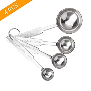 4Pcs Measuring Spoons, Premium Stainless Steel Metal Spoon Set, Tablespoon and Teaspoon, for Accurate Measure Liquid or Dry Ingredients, for Cooking Baking, Dishwasher Safety