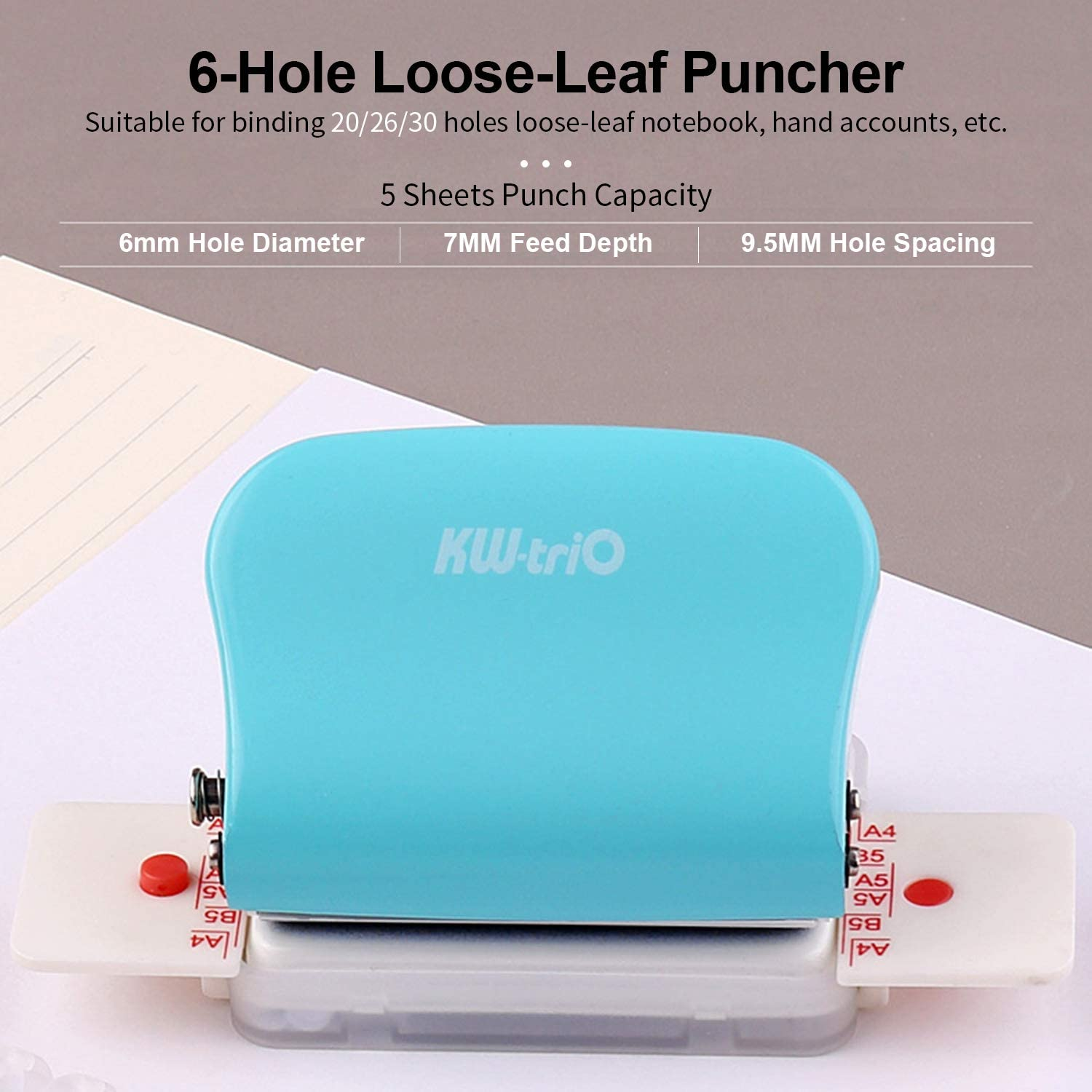 KW-trio Mini Metal Single Hole Punch Paper Puncher 20 Sheet Capacity 6mm Holes