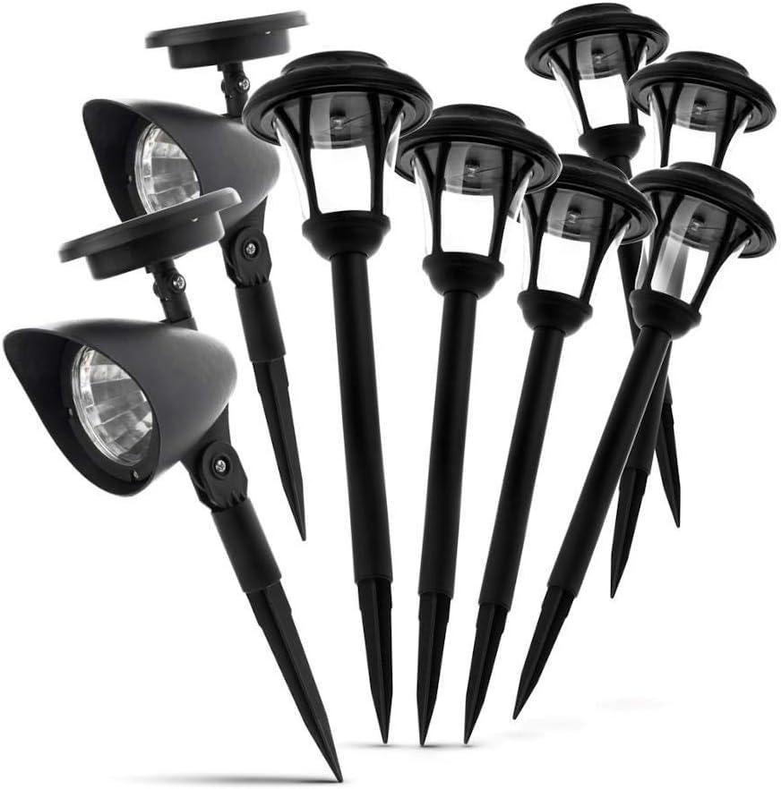 Home Zone Security Solar Path and Spotlight 8-Pack 6 Solar LED Light + 2 spot Lights 3300K no Wiring Auto -on Sensor, Black, 140682