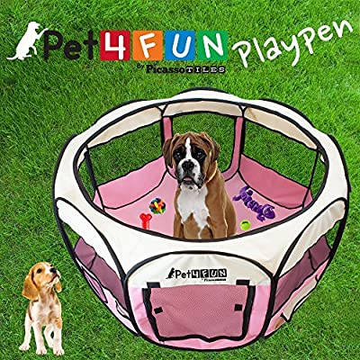 PET4FUN Portable Pet Puppy Dog Cat Animal Playpen Yard Crates Kennel w/ Premium 600D Oxford Cloth, Tool-Free Setup, Carry Bag, Removable Security Mesh Cover/Shade, 2 Storage Pockets