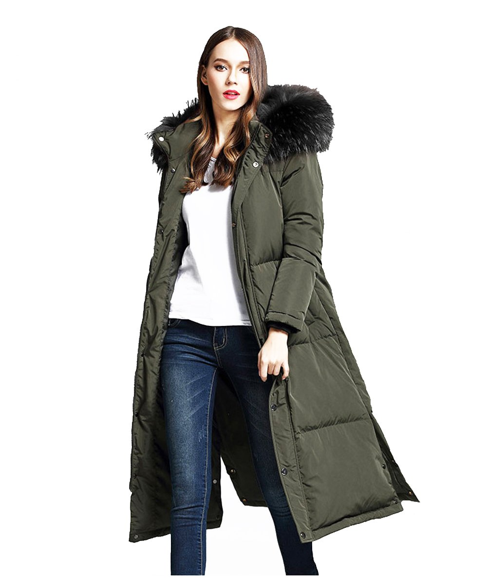 unkonw Women's Thicker Down Jacket With Removable Hood Fur For Winter (XXL, Green)