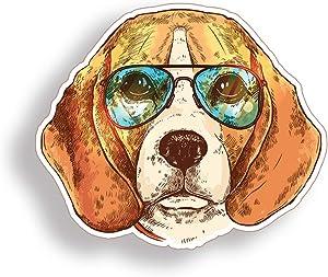 Colorful Beagle Dog Sticker Sunglasses Pet Laptop Cup Cooler Car Vehicle Window Bumper Vinyl Decal Graphic