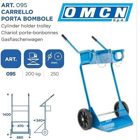 omcn – Carro porta bombole omcn 095 Alcance 200 kg con ruedas de 250 mm Altura