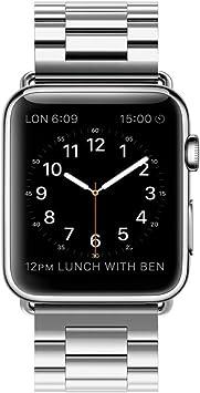 Correa Apple Watch 42mm Acero Inoxidable Repuesto de Pulsera para iWatch con Metal Corchete, LeeHur Correa de Reemplazo de Apple Watch para iWatch Series 1 / 2 / 3 , Plateado: Amazon.es: Electrónica