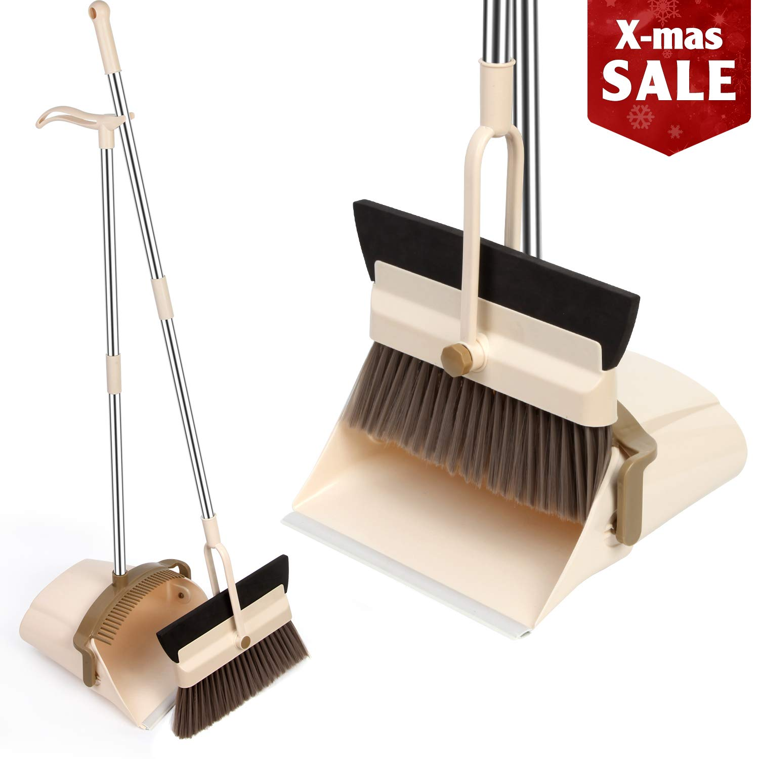 MOCREO Dustpan and Broom and Floor Squeegee Set, Dustpan Cleans Broom Combo with Long Handle For Home Kitchen Room/Office/Lobby Floor, Use Upright Stand Up Dustpan Broom & Squeegee Set