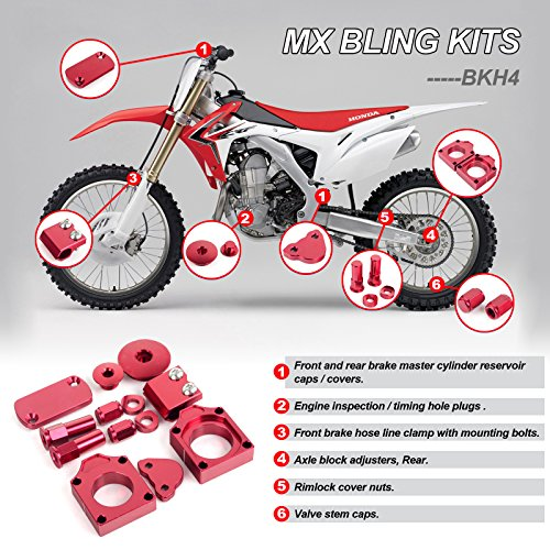 Cap Rear Billet Axle (TARAZON CNC Red Bling Kits Kit for Honda CRF450R CRF 450 R 2009-2015)