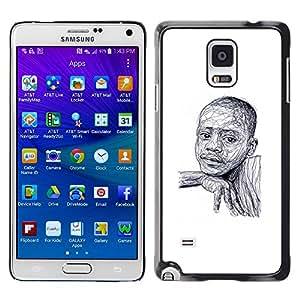 YOYOYO Smartphone Protección Defender Duro Negro Funda Imagen Diseño Carcasa Tapa Case Skin Cover Para Samsung Galaxy Note 4 SM-N910F SM-N910K SM-N910C SM-N910W8 SM-N910U SM-N910 - muchacho negro africano blanco bosquejo estadounidense