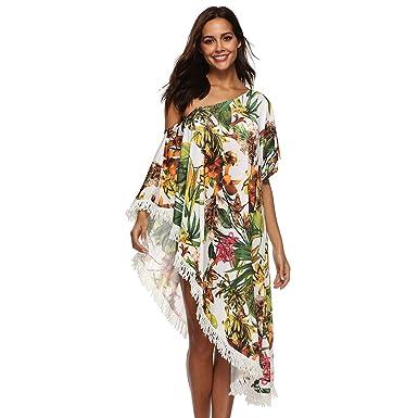 Baijiaye Mujer Hombro Desnudo Plantas Impresión De Flores Borla Verano Protección Solar Vestido Playero Mujer Batas para Playa Blanco: Amazon.es: Ropa y ...