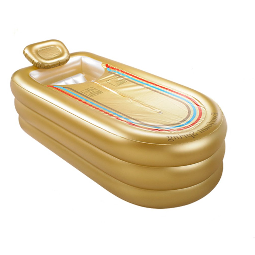 PIGE Large Extension Of The Inflatable Bathtub Adult Thickening Tub Folding Bath Tub Plastic Bath Barrel ( Color : Gold )