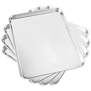 Baking Sheet Set of 4, Yododo Cookie Sheets Metal Stainless Steel Tray Baking Pans, Rectangle Size 16 x 12 x 1 inch, Mirror polishing & Dishwasher Safe, Non Toxic & Healthy, Rust Free & Easy Clean