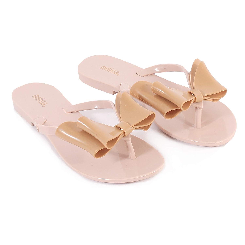a0185da9e Melissa Women s Harmonic Tie Bow Slip On Flip Flop Blush Tan  Amazon.co.uk   Shoes   Bags