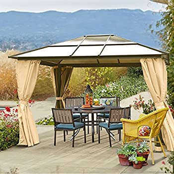 10u0027 X 12u0027 Hard Roof Patio Gazebo Aluminum Poles Heavy Duty Structure