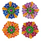 Set of 4 Diwali Decorations Colorful Oil Lamp Diya For Pooja/Puja Home Decor