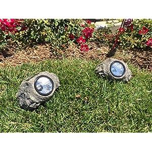 Solar Powered Rock Landscaping Spot 3-LED Light Garden Outdoor Stone Patio Sun (2)