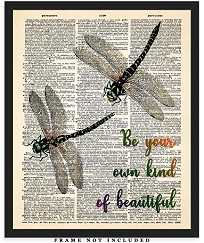 Be Your Own Kind Of Beautiful Dragonflies Dictionary Wall Art Print: Unique Room Decor for Boys, Men, Girls & Women - (8x10) Unframed Picture - Great Gift Idea (Dragon Fly Prints)