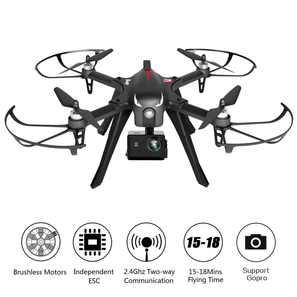 RCtown Brushless Drone Support Gopro Action Cameras, RC Quadcopter MJX Bugs 3 Drone for Experienced, 18 Minutes Flying Time, 300 Meters Long Control Range (Black) by RCtown
