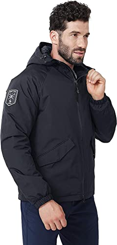 CAMEL CROWN Mens Winter Warm Jacket Windproof Water Resistant Hiking Jacket with Hood and Pockets Quilted Cotton Padded Jacket Outdoor Ski Snowboarding Work Jacket for Spring Autumn Winter