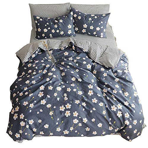 HIGHBUY Floral print Kids Girls Bedding Duvet Cover Set Twin Cotton Striped relatively easy to fix Stripe Pattern Navy Blue Teens Boys Bedding Sets Twin 3 PC simple Bed Comforter Covers with Zipper Closure