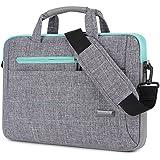 Brinch 15 - 15.6 Inch Multi-functional Suit Fabric Portable Laptop Sleeve Case Shoulder Messenger Bag Briefcase for Laptop, Tablet, Macbook, Notebook - Grey-Green