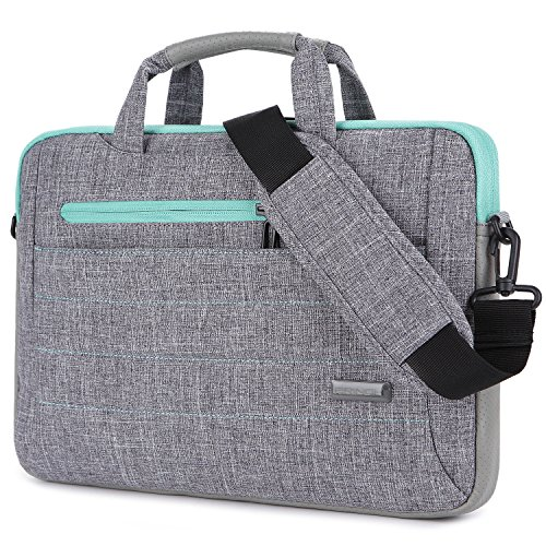Brinch 15 - 15.6 Inch Multi-functional Suit Fabric Portable Laptop Sleeve Case Shoulder Messenger Bag Briefcase for Laptop, Tablet, Macbook, Notebook - Grey-Green
