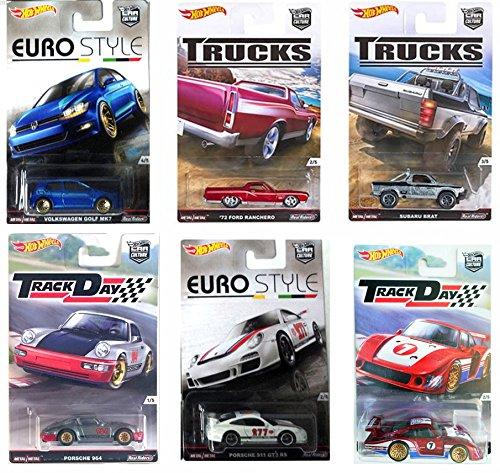 Hot Wheels Car Culture Porsche Track Day & Euro Style + Trucks Set 2016 Porsche 964, Porsche 911 GT3 RS, Suburu Brat, Volkswagen Golf MK7 VW, Ford Ranchero, Porsche 935 Real Rider Tires 6 car set