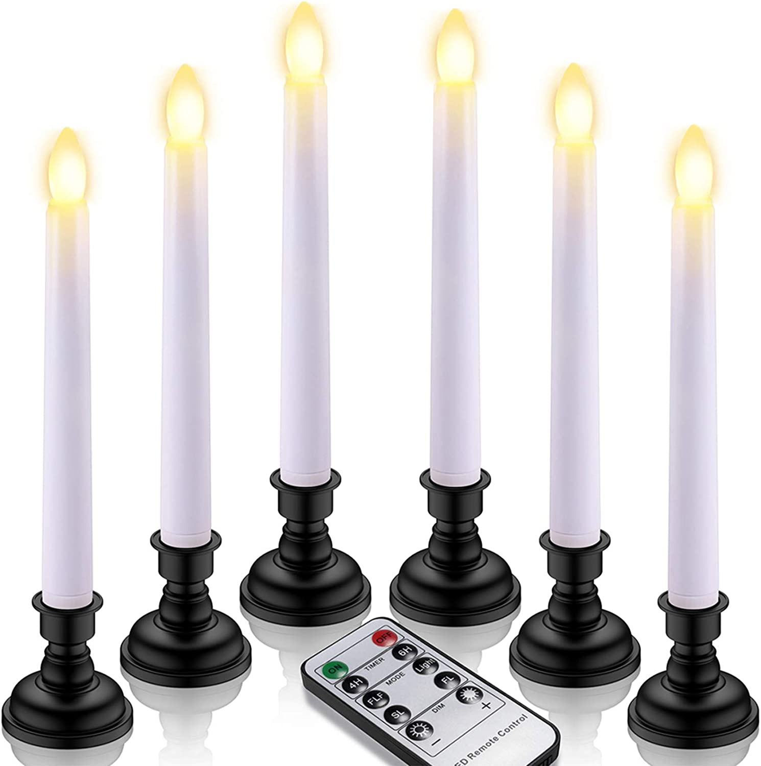 LED Taper Candles, Yme 6pcs Battery Window Candles with Remote Timer Flickering Flameless Candlesticks with Black Candle Holders for Home Christmas Party Decor – White