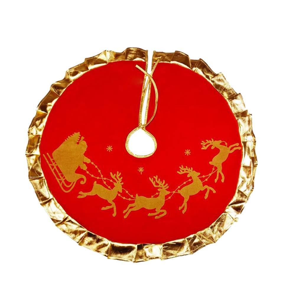 BESTOYARD Gonne per Alberi di Natale con Motivo Renna Decorazioni Albero di Natale (Rosso 90cm)