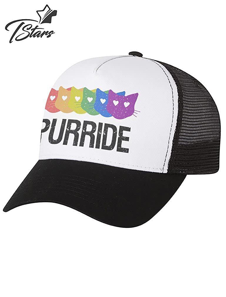 eb787746ac8e7 Purride Gay   Lesbian Pride Cat Lover Rainbow Flag Parade Trucker Hat Mesh  Cap One Size Black White at Amazon Men s Clothing store
