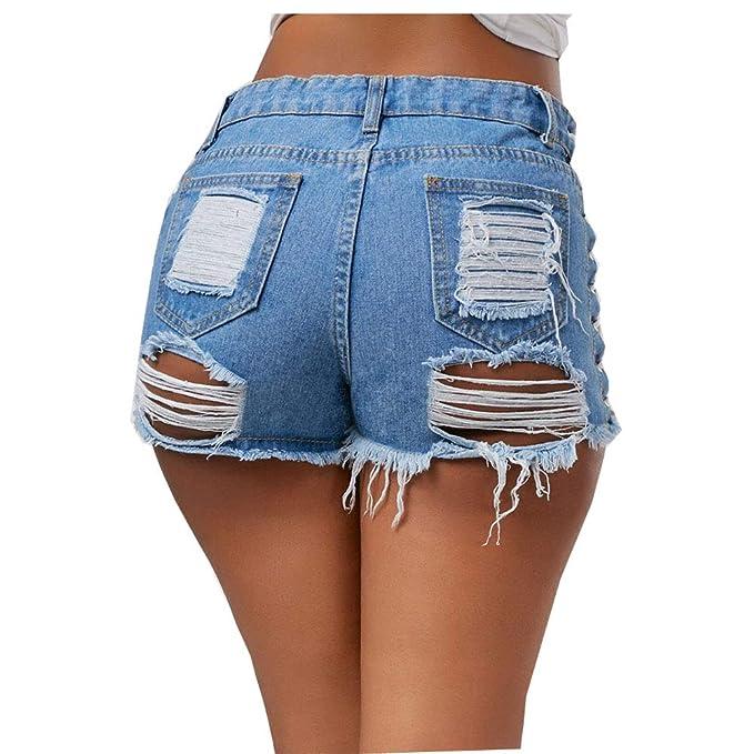 6d3f17dfe4 DOTBUY Pantalones Cortos Mujer Sexy Vaqueros Mojado Metálico ...