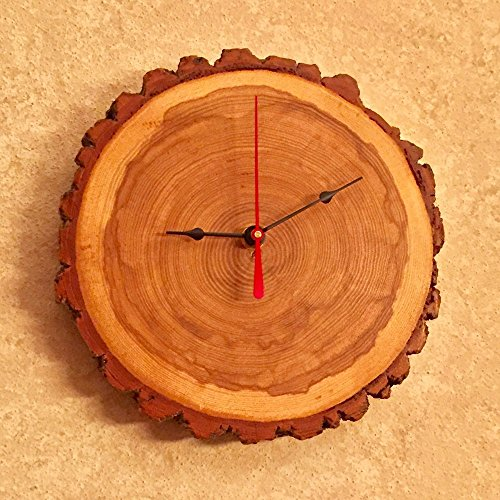 Tree Wood Wall Clock With Bark | 12 Hour Sealed Natural Wood Clock | 1