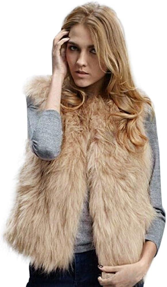 STORTO Women Plus Size Faux Fur Vest Jacket Casual Warm Winter Waistcoat