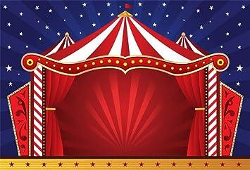 Cassisy 3x2m Vinile Circo Foto da Sfondo Strisce bianche rosse Tende da circo Stelle Blue Stripes Wall Fondali Fotografia Partito Bambini Photo Studio Puntelli Photo Booth