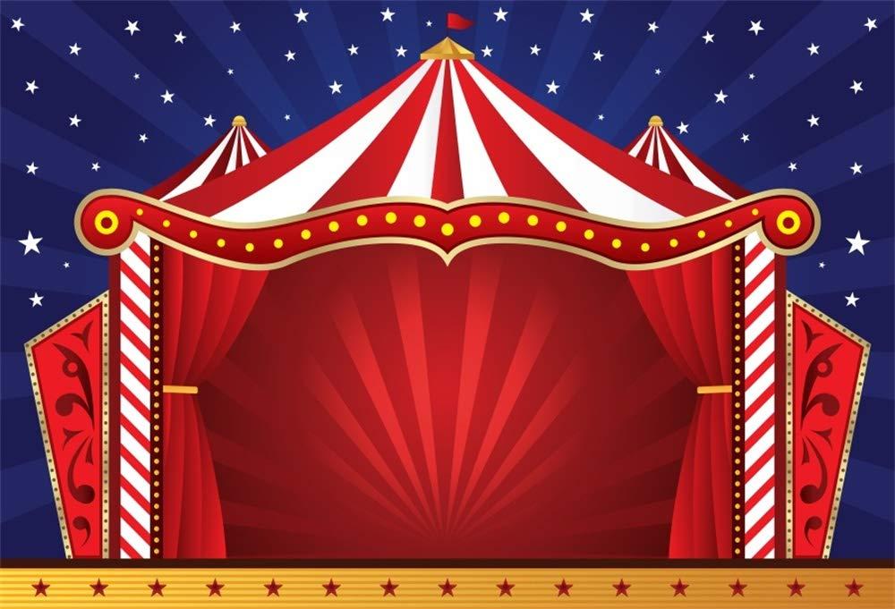 Cassisy 3x2m Vinilo Circo Telon de Fond Al Aire Libre Cortinas De Circo Rojo Rayas de Colores Objetos de Circo Fondos para Fotografia Party beb/é Infantil Photo Studio Props Photo Booth