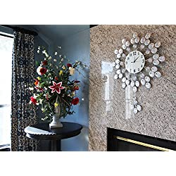 37Tall Oversized Metal Silver Sun Frost Clovers Contemporary Style Wall Clock With Pendulum