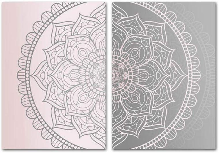 Rosa Gris Mandala Lienzo Abstracto Cartel Boho Arte de la Pared Impresión geométrica Pintura Imagen Decorativa Decoración Moderna de la Sala de Estar (50x70cmx2 / sin Marco)