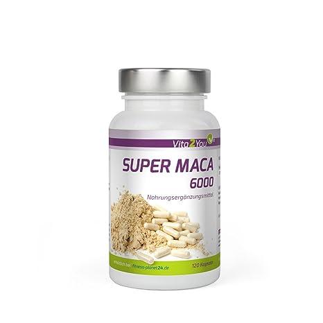 Vita2You Super Maca 6000 - Dosificación alta - 6000mg de raíz de maca por cápsula -