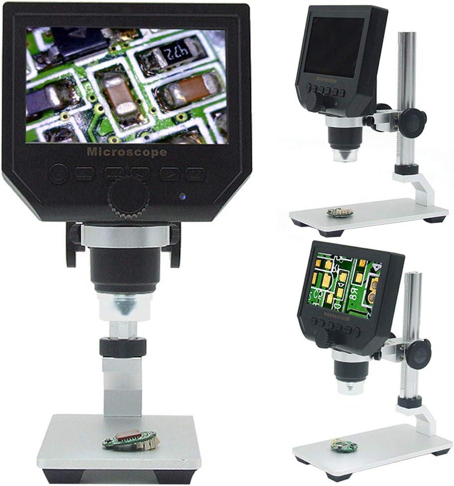 Lupa de microscopio digital USB con soporte de aleación de aluminio ajustable, 1 – 600 x aumento continuo 3,6 MP 4,3 pulgadas pantalla LCD HD, blanco: Amazon.es: Bricolaje y herramientas