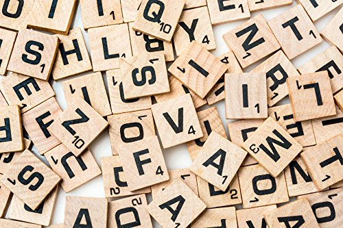 Scrabble Tiles Wood Deluxe Set: Letter and Number Tiles for Games, Scrapbooking and Crafts - 200 Pieces - Wood Print Craft