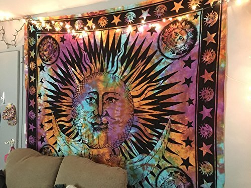 Jaipurhandloom Psychedelic Celestial Indian Sun Hippie Hippy Tapestry Wall Hanging Throw Tie Dye Hippie Hippy Boho Bohemian Tye Die Hand-loomed Window Doorway Door Curtain