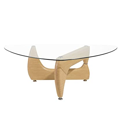 Merax Isamu Noguchi Style Coffee Table With Glass Top, Natural