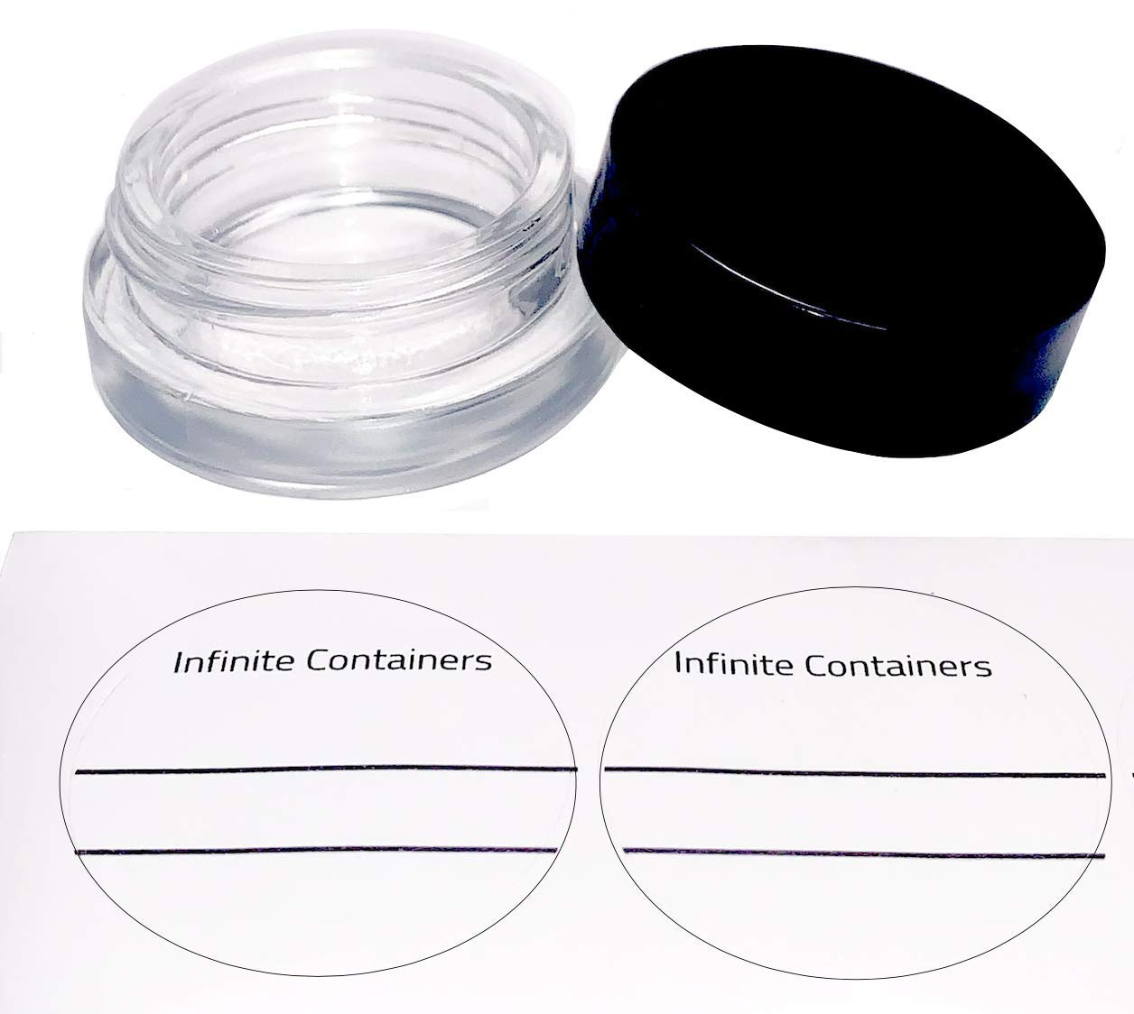 7-Milliliter Glass Jars with Lids (90-pack) includes circle labels by Infinite Containers by Infinite Containers