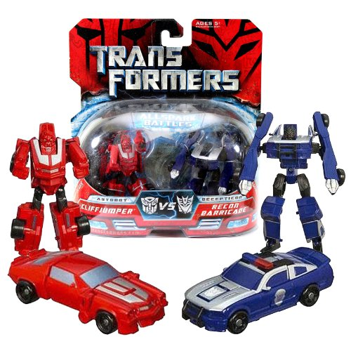 Hasbro Year 2007 Transformers Movies All Spark Battles Series 2 Pack Legends Class 3 Inch Tall Robot Action Figure - Autobot CLIFFJUMPER (Vehicle Mode: Classic Camaro) versus Decepticon RECON BARRICADE (Vehicle Mode: Saleen S281 Police Car)