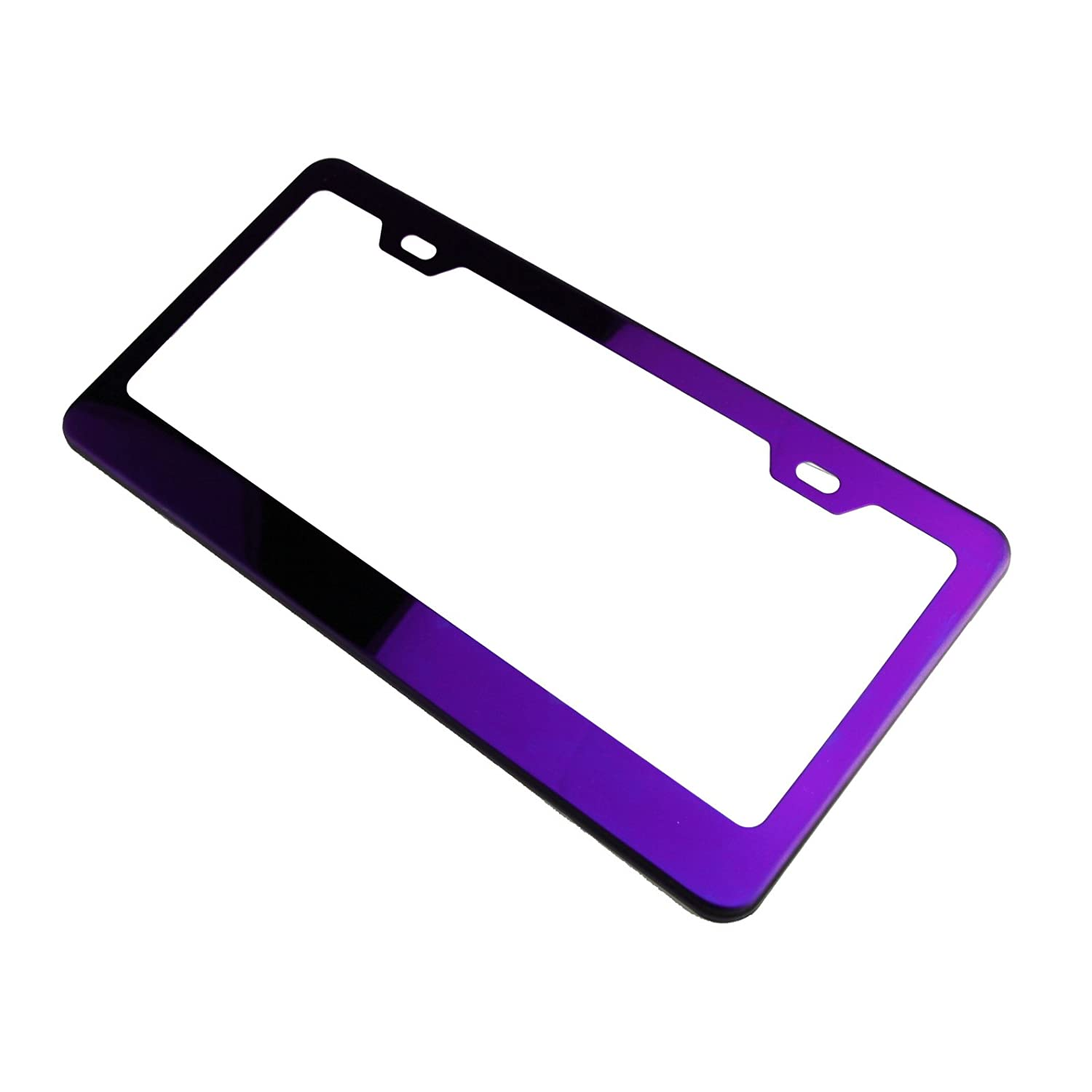 Polish Purple Chrome T304 Stainless Steel License Plate Frame Holder Front Or Rear Bracket with Aluminum Screw Cap