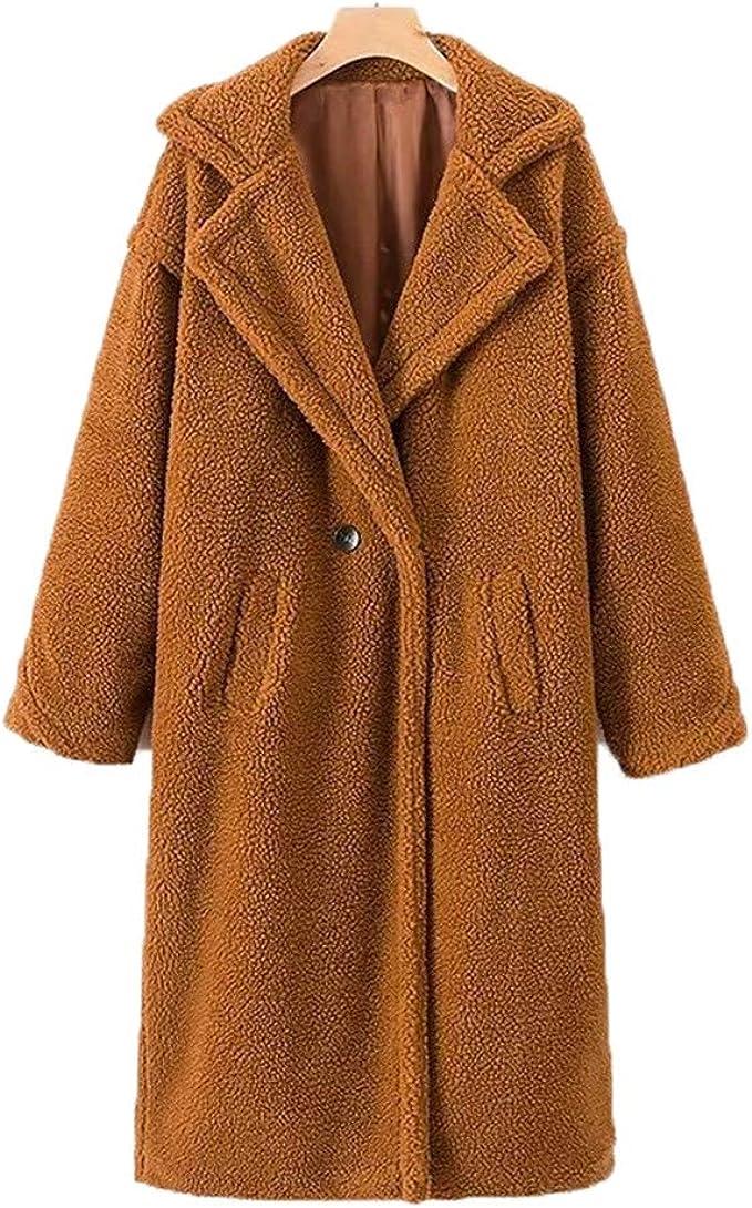 Damen 3XL Verdickt Faux-Pelz Mantel Revers Kaschmir Kapuze Outwear Jacke Warm L