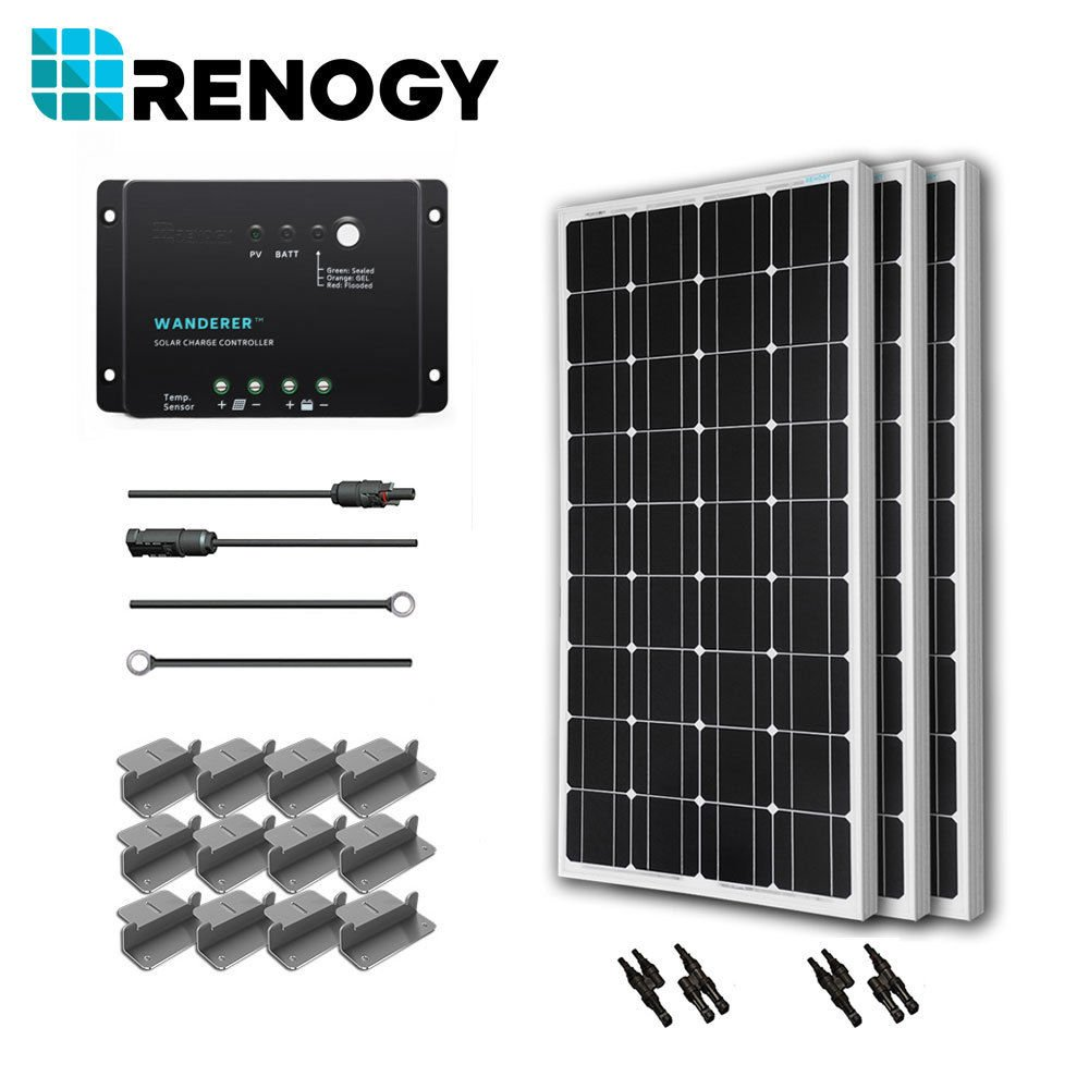 Renogy 300 Watts 12 Volts Monocrystalline Solar Starter Kit with Wanderer (Negative Grounded) by Renogy