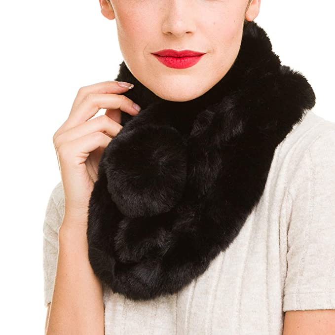 a54e5f380aa Fur Collar Scarf for Women Faux Fur Scarves Neck Shrug for Winter Coat  Dress (Black