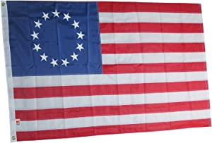 rhungift Premium Betsy Ross Flag 3x5Ft,Embroidered American 13 Stars and Sewn Stripes Longest Lasting Oxford Nylon 210D Quadruple Stitched Fly Ends| USA United States Historical First Flag